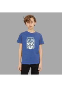 Kék-fehér logós póló